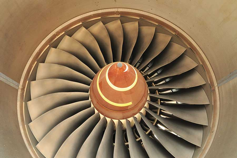 Plasma Treatment of Aerospace Composite Materials - close up of plane engine