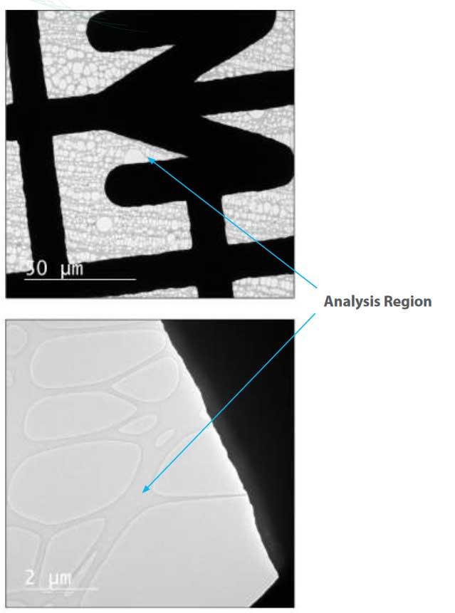 Examination of Effectiveness of Henniker Plasma Cleaner using a Holey Carbon Film by TEM - Analysis region henniker tem app note